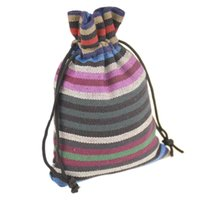 Wholesale Small Cotton Drawstring Pouches - 10x14cm Multicolor stripe HandmadeTribal Tribe Small Drawstring Jewelry Pouches Cotton Gift package bags 3.9''x5.5'' 100