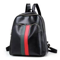 2a146f4da98 mochila verde al por mayor-Nueva franjas verdes rojas bolsa de la escuela  del estudiante