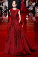 Wholesale china pears - Elie Saab Fashion new word shoulder Evening Dresses China toast wine red bride Evening dress car carpet Online