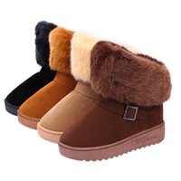 Wholesale Thick Soled Boots Women - 2016 Fashion New Women's Snow Boots Comfortable Warmth Thick Soled Boots For Women Female Winter Cotton Shoes LANSHITINA Brand