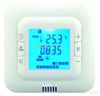 подогрев полов оптовых-Цифровой подогрев пола Программируемый термостат Регулятор температуры в помещении 2 датчика с датчиком температуры пола синий / зеленый / белый задний цвет