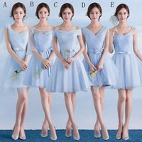 Wholesale Guest Orders - One Shoulder Soft Tulle Short Bridesmaid Dress With Bow Sky Blue 2016 Knee Length Wedding Guest Dress 5 Style Mixed Order
