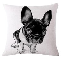 Wholesale Lovely Pink Cushions - Wholesale- Pillow Case Home decorativi pattern Cushion emoji pillow Lovely french bulldog Chair Cushions Decorative Pillow covers Cojines