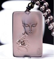 Wholesale Natural Gemstone Carved Pendants - Fashion Natural Gemstones Jewelry Obsidian Carved Necklace Pendant beads