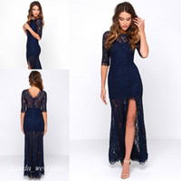 Wholesale Gorgeous Elegant Evening Long Dresses - Gorgeous Navy Blue Long Prom Dress Lace Side Slit Elegant Special Occasion Dress Evening Party Dress Women Wear
