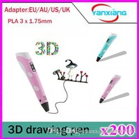 200pcs Impression 3D Pen 3 * 1.75mm PLA intelligent 3D Pen Drawing Pen 3D Filament Free For Kids Birthday Conception de cadeau de Noël Peinture YX-DY-01