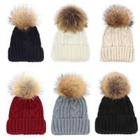 Wholesale top hat for sale - 10 Colors Winter Double twist Beanie Knitted Big Raccoon Fur Pom Poms Hat Women Cap Headgear Headdress Head Warmer Top Quality