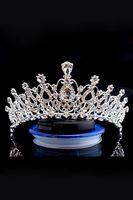 ingrosso fasce di qualità-Corona da sposa di lusso Cristalli di perline scintillanti economici ma di alta qualità Corone da sposa reali Accessori per capelli fascia per capelli velo di cristallo CPA790