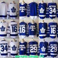 Wholesale Free Custom Logos - Mens 2017-2018 Season New Toronto Maple Leafs 34 Matthews Auston 16 Marner Mitchell Blue Embroidery logos Custom Jersey Free Shipping