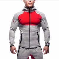 Wholesale Mens Shirts Cardigan - Mens Bodybuilding Gym Hoodies Brand-clothing Workout Shirts Hooded Suits Tracksuit Men Chandal Hombre Gorilla wear Animal