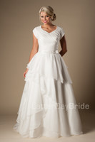 Wholesale Inexpensive Winter Wedding Dresses - Modern Short Sleeves Modest Wedding Dresses 2016 Cap Sleeves V Neck Buttons Tiered Organza Bridal Gowns A-line Inexpensive Wedding Gowns