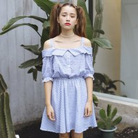 Wholesale Korean Cute Sexy - women dress harajuku plus size korean summer dress 2017 new sweet plaid dresses women flouncing clothing cute rock sexy dress