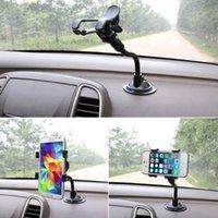 держатели для чашек держатели gps оптовых-Двойной клип автомобильный держатель 360 градусов лобовое стекло автомобиля держатель сотового телефона кронштейн стенды Стендер присоске для GPS мобильный телефон iPHone