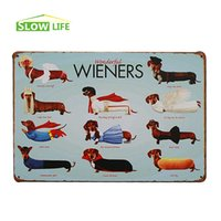 "Wholesale House Tin - Wholesale- Wonderful Wieners Dachshunds Vintage Home Decor Tin Sign 8""x12"" Bar House Wall Decor Metal Plate Metal Sign Retro Metal Poster"
