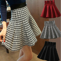Wholesale Houndstooth Pleated Skirt - Wholesale-Autumn Winter Skirts Female 2016 New Pleated Waist Tutu Skirt Bottoming Knit Skirts Houndstooth Checkered Black Burgundy