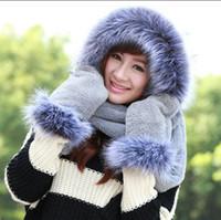 Wholesale Hat Scarf Glove Sets Women - Wholesale-Outwear 2016 Cute Casual Lovely Winter Thick Warm Elegant Luxury Faux Fur Women Scarf Hat Glove Set Female Office V674