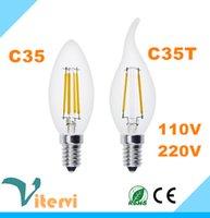 Wholesale E14 Candle Dim - Edison Dimming filament candle bulb light e14 e27 110V 220V 2W 4W 6W led candle light 360 angle candle bulb lamp