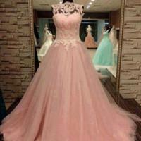 Wholesale Mini Quinceanera Dresses - Fabulous Quinceanera Dresses 2016 Vintage Prom Dress Long Formal Evening Party Wear Tulle Skirt Lace Appliques Top Illusion Neckline