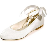 Wholesale Satin Shoe Pearl Ankle Strap - Women's Wedding Bridal Shoes Round Toe Evening Prom Party Flats with Pearls Ribbins ZXF9872-15A