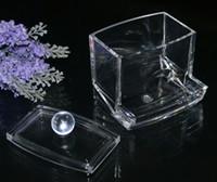 ingrosso q portautensili-Nuovo arrivo Clear Acrilico Cotton Box tampone Q-tip Storage Holder Cosmetico strumento di trucco Donna Storage Box con coperchio