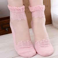 Wholesale Candy Anklets - Wholesale-Elegance Candy Color Multiple Colors Womens Low Cut Anklet Socks Cotton Lace Edge Breathable Casual Socks Purple Pink White