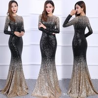 Wholesale Modest Evening Gowns For Women - Long Sleeves Modest Mermaid Sequined Evening Dresses For Women Jewel Trumpet O-neck Floor Length Sparkly Runway Formal Evening Prom Gowns