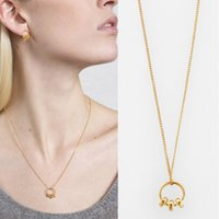 Wholesale Minimum Orders Necklace Wholesale - Luxury Gold Silver Tone Finish Circle Charm Pendant Chain Necklace Concise Style OEM ODM Wholesale DHL Free Shipping Minimum Order USD50