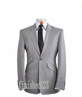 Wholesale Two Piece Men S Pants - New Arrival 3 pieces Two Button Light Grey Groom Tuxedos Groomsmen Peak Lapel Best Man Wedding Prom Dinner Suits (Jacket+Pants+Tie) K11