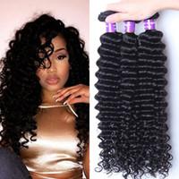 Wholesale Queen Deep Wave - Hot 7A Brazilian Virgin Hair 3 Bundles Deep Wave Queen Hair Products Human Hair Weave Mink Brazilian Deep Curly Virgin Hair