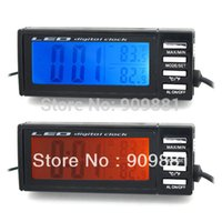 Wholesale Outside Thermometers - New LCD Car Auto Temperature Meters Digital Clock Outside Inside Temperature Thermometer Portable Thermometer Free Shipping