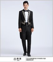 Wholesale Swallowtail Tuxedo - 100%real Free shipping mens black embroidery collar swallowtail suit tuxedo jacket with pants black wedding suit swallow suit