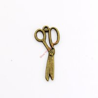 Wholesale bronze scissors - 20pcs Antique Bronze Plated Scissors Charms Pendants for Necklace Jewelry Making DIY Handmade Craft 30x13mm
