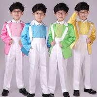 Wholesale Boys Size 6t Clothes - Boy Costume Suit Candy Color Host Small Blazer Suit Children's Day Performance Clothing Coat +Pant+ Shirt+Tie+Belt Size 100-150
