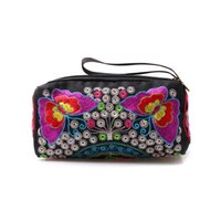 Wholesale wristlets for sale - National Embroidered Zipper Purse Vintage Small Bag for Women Day Clutches Retro Wristlets with Floral Design Female Bags