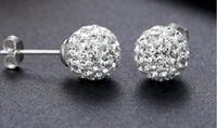 Wholesale Sterling Silver Ball Studs - 10mm,Retro,Elegant 925 sterling silver jewelry Earrings,Shambhala ball Fashion design crystal stud zircon Earrings for Women Wedding jewelry