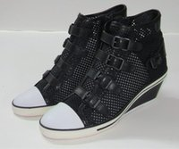 Wholesale Net Wedge - Ash Genial Buckle Small Wedge Sneakers Black Sheepskin Mesh Hollow High-top Summer Fashion Trainers On Hot Sale Tide Sport Shoes Size 34-40