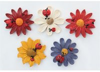 Wholesale Kid S Stickers - Fridge Magnet Resin process Gerbera Magnet Home Decor Refrigerator Magnetic Stickers Sunflower Message stickers for kids 2017 Wholesale
