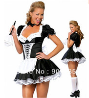 Wholesale French Maid Costumes - Wholesale-FREE SHIPPING zt8181 French Maid Costume Uniform Sexy Adult Dress up cosplay size S,M,L,XL,2XL 3XL 4XL