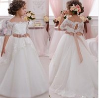 Wholesale Brown Fur Vest Kids - Pure White Princess Flower Girl Dresses Organza Off The Shoulder Lace Sleeves Kid Pageant Gowns Lace Up Wedding Flower Girl Gowns