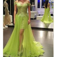 Wholesale tulle dreses resale online - Green Prom Dreses Lace Split Formal Evening Gowns With Off Shoulder Sheer Backless Floor Length Tulle Party Gowns