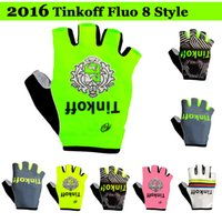 Wholesale Saxo Bank Gloves - 2016 Tinkoff Saxo Bank cycling gloves fluo 8 style bicycle Bike Half Finger gloves fitness riding bikel Bicycle Sports Half Finger Glove
