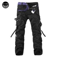 Wholesale Male Multi Pockets Pants - Wholesale-100%Cotton Male Trousers 2016 Brand Top Fashion Multi-Pocket Solid Mens Cargo Pants Good Quality Men Trousers USA018