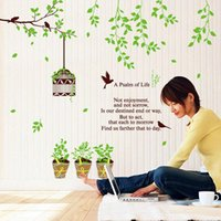 Wholesale Tree Birdcages Sticker - Removable Beautiful birdcage tree Wall Stickers Decal Home Accessories Pattern Design on Promotion wall Mural Home Décor free shipping