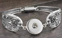 tubos de botões venda por atacado-925 pulseiras noosa de prata Fit Botão Snap Pulseira Carve Flor Tubo Magnético Fecho Bar (18 cm-23 cm) transporte da gota 15 pcs