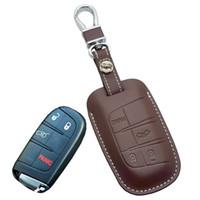 fiat anahtar kutusu toptan satış-Jeep Grand Cherokee için deri Araba Anahtarlık kapak Durumda Dodge JCUV Yolculuk için Dart Anahtar Tutucu Zinciri Chrysler Fiat Oto Aksesuarları