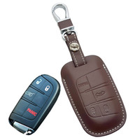 Wholesale Black Journey - Leather Car Key Fob cover Case for Jeep Grand Cherokee Longitude for Dodge JCUV Journey Dart Key Holder Chain Chrysler Fiat Auto Accessories