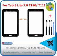 t111 dokunmatik toptan satış-Samsung Galaxy Tab 3 7.0 Lite Için 1 ADET SM-T110 T111 T113 Tab 4 Lite T116 3G WiFi Dokunmatik Ekran digitizer Cam Panel + logo