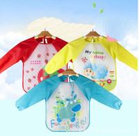 su geçirmez kılıf önlük toptan satış-Karikatür Bebek Önlükler Renkli Uzun Kollu Önlük Su Geçirmez Toddler Besleme Önlükler Burp örtüleri Çocuk Boyama Giysi