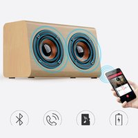 Wholesale Woods Sound Effects - Brand new W7 wood speaker sound music speaker bluetooth bass TF AUX subwoofer double speaker effects bass