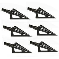 siyah okçuluk okları toptan satış-6 adet Paslanmaz Çelik Broadheads 3 Sabit Bıçaklar Keskin Ok Başı Avcılık Çekim 100 Tahıl Okçuluk Ok Uçları İpucu Hedef Siyah
